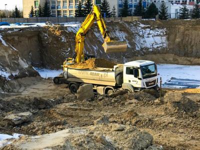 Białystok - wykop pod budowę budynku wielorodzinnego Białystok ul. Kombatantów